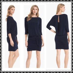 WHBM Dress M Stretch 3/4 Dolman Sleeve Dark Blue
